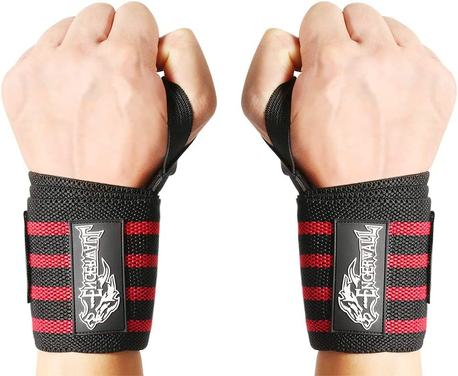 Men Women Strength Trainin Bodybuilding Wrist Bands Red ENGERWALL 21 Wrist Wraps Fitness Weight Lifting Workout Wrist Braces