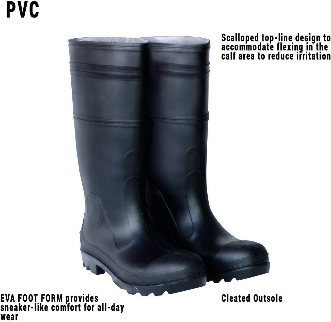 "Servus Comfort Technology 14/"" PVC Soft Toe Men/'s Work Boots Black"