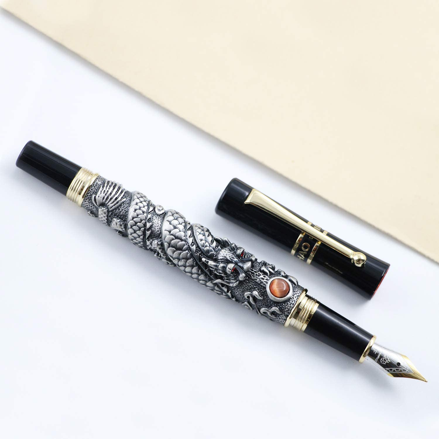 Luxury Jinhao Flying Dragon Ancient silver Fountain Pen 0.5mm Nib 18KGP Calligraphy Ink Pens for Writing Gift