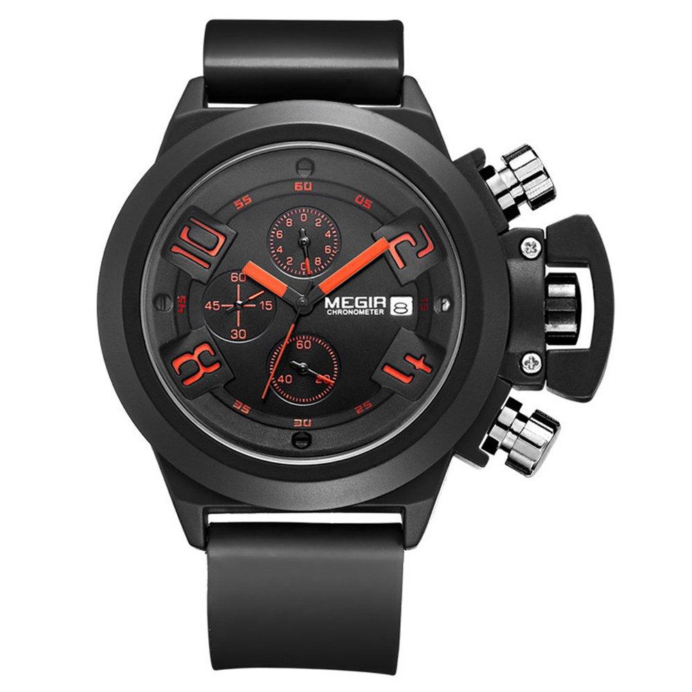 Megir reloj hombre analógico negro para deportivo al aire libre sumergible cronógrafo militar hombre relojes de cuarzo de silicona