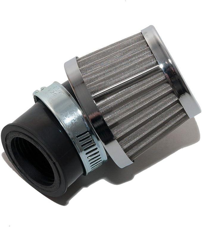 Sport Luftfilter Stahlgewebe Maxtuned Für 17 5mm Vergaser 45 Abgewinkelt 30mm Anschlussweite Auto