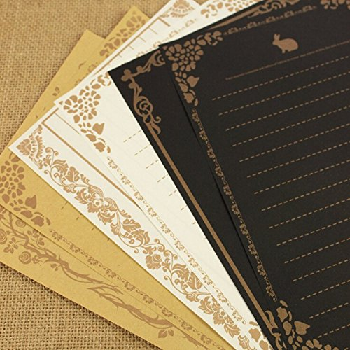 Winrase® Set of 24 Retro Style Lace Design Writing Stationery Paper,3 Styles, Each Style 8 Kinds of Different Patterns