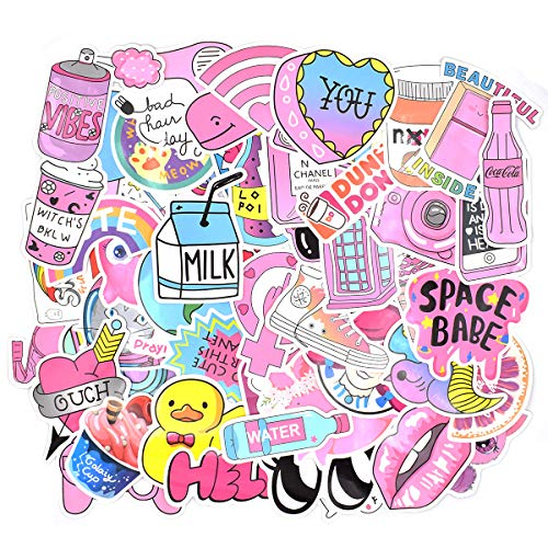 Price comparison product image Riao-Tech 52pcs Pink Girl Cute Lovely Stickers for Laptop Cup Guitar Phone Bicycle Luggage Guitar Bike Hemlet Waterproof Sticker