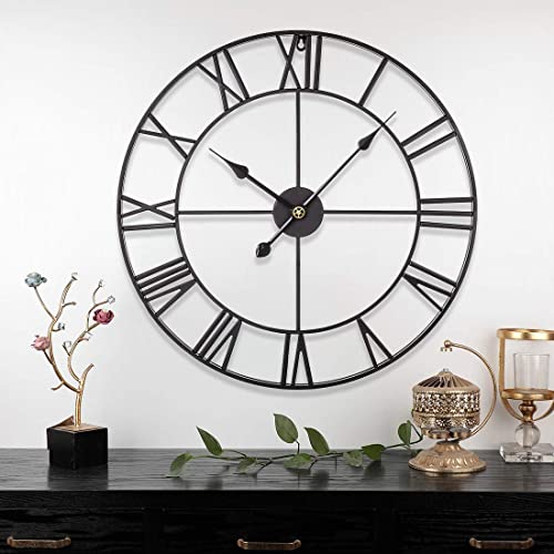 RuiyiF 24 Inch Metal Wall Clock Large Decorative Rustic Farmhouse Oversized