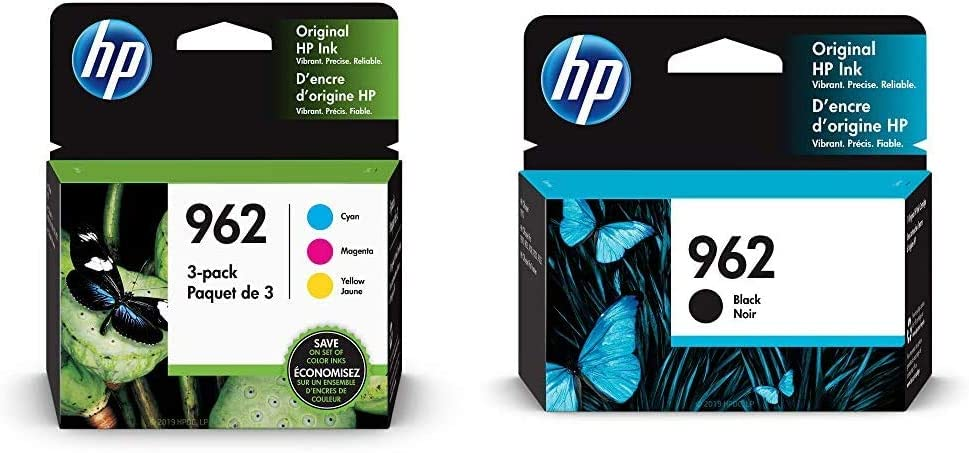 HP 962 | 3 Ink Cartridges | Cyan, Magenta, Yellow | 3HZ96AN, 3HZ97AN, 3HZ98AN & 962 | Ink Cartridge | Black | 3HZ99AN