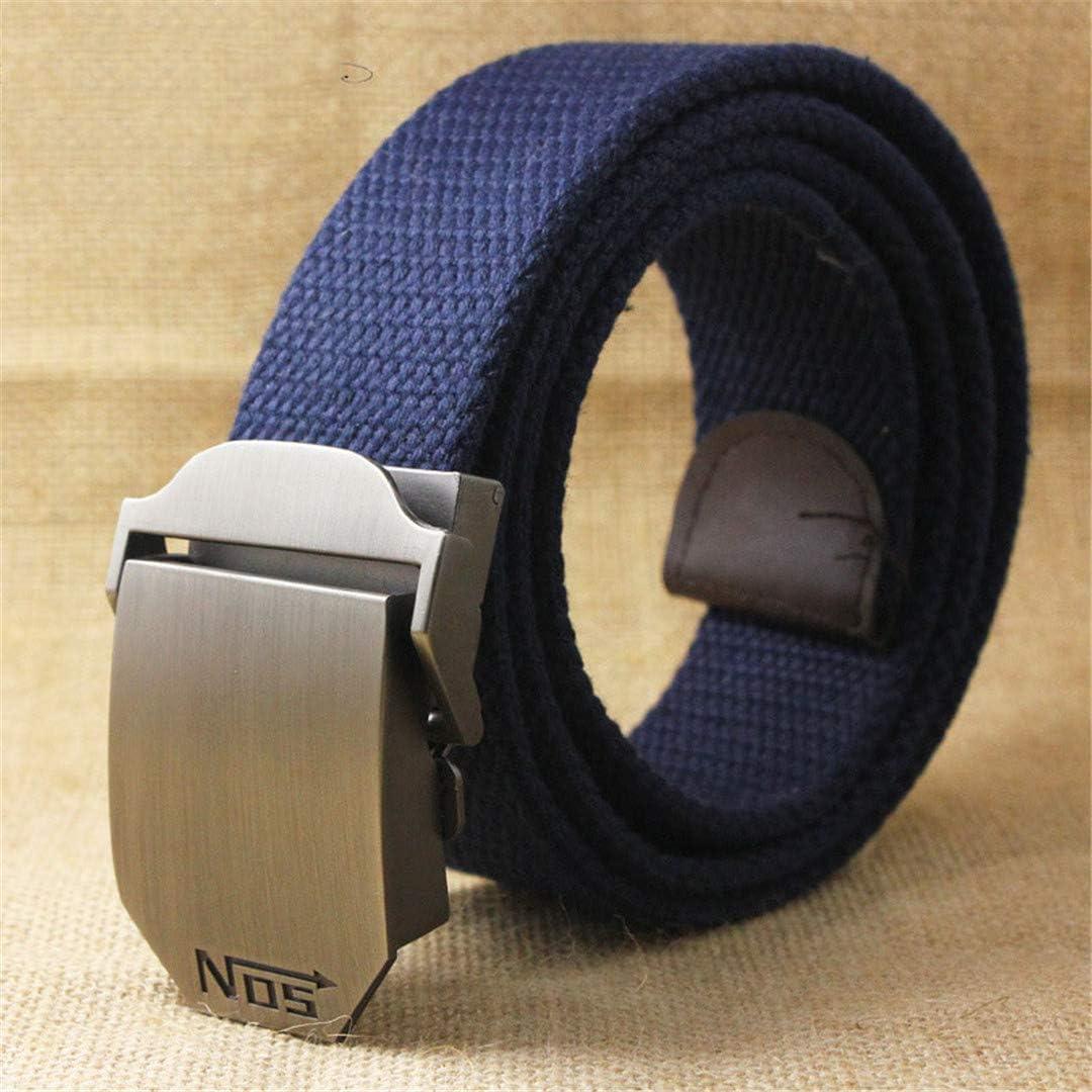JUIHUGN Best Unisex Tactical Belt Top 4 Mm Thick 3.8 cm Wide Casual Canvas Belt Outdoor Alloy Automatic Buckle Men Belt J Navy Blue Stripe 120cm