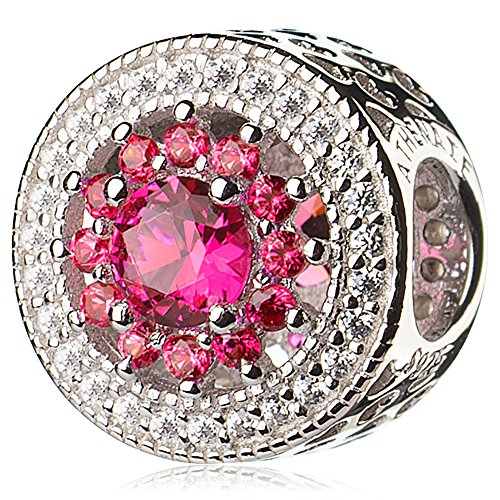 ATHENAIE 925 Sterling Silver Plated Platinum with Pave Clear CZ & Rose Red Heart Radiant Openwork Charm Beads