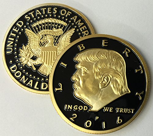 Limited Edition Donald Trump 24kt Gold Plated w/Black inlay 2016 Presidential EAGLE novelty coin 30mm