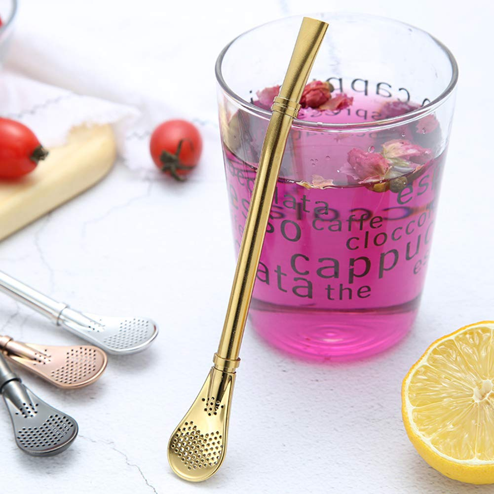 fibgihc 1pc Stainless Steel Filter Spoon with Straws, Drinking Tea Cocktail Straw Gourd