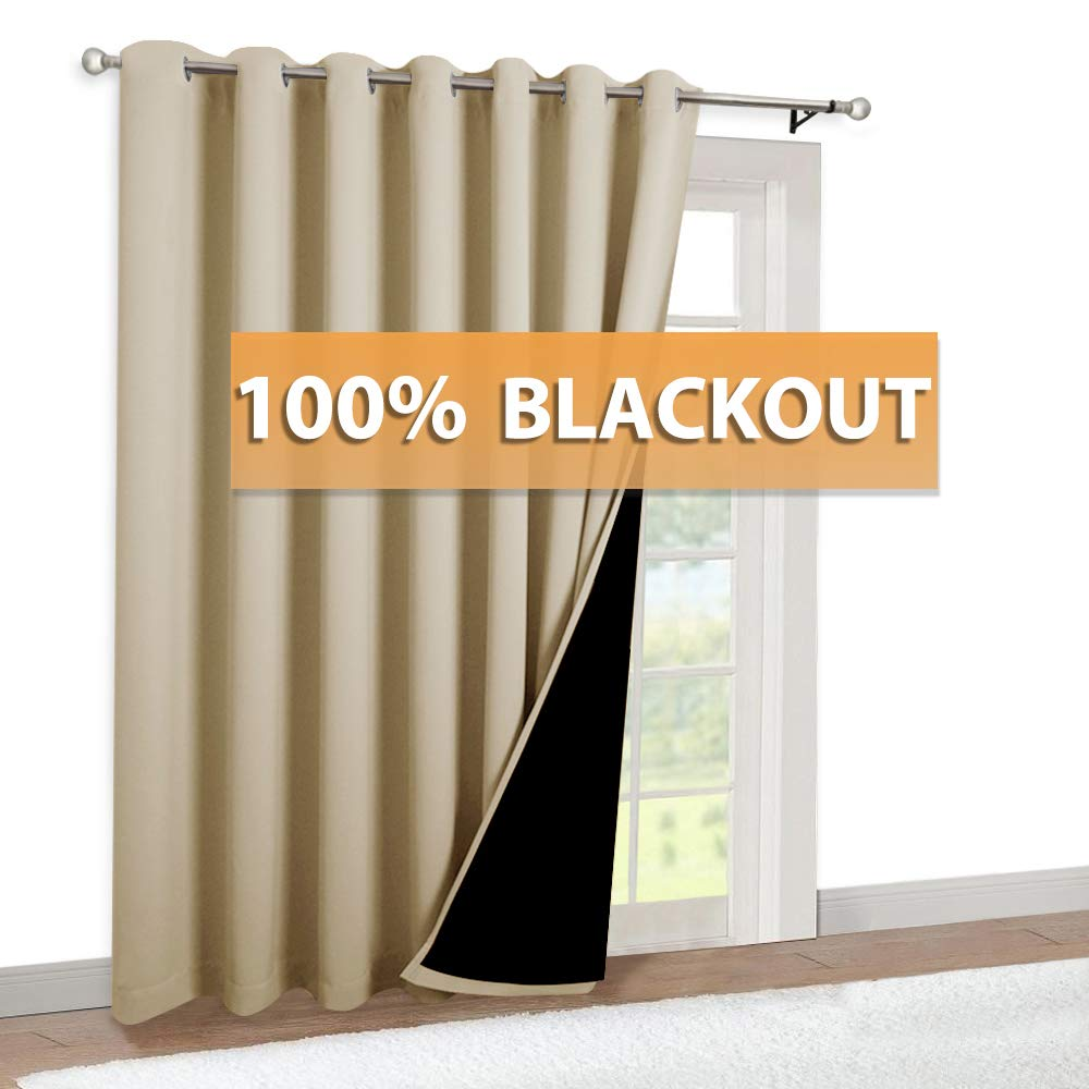 RYB HOME 100 inches Wide Curtains - Full Blackout Curtain for Living Room Wall Panel for Office Cafe Decor, Insulate Heat Noise Barrier Nautical Curtain, Width 100 x Length 84, Biscotti Beige, 1 Pc