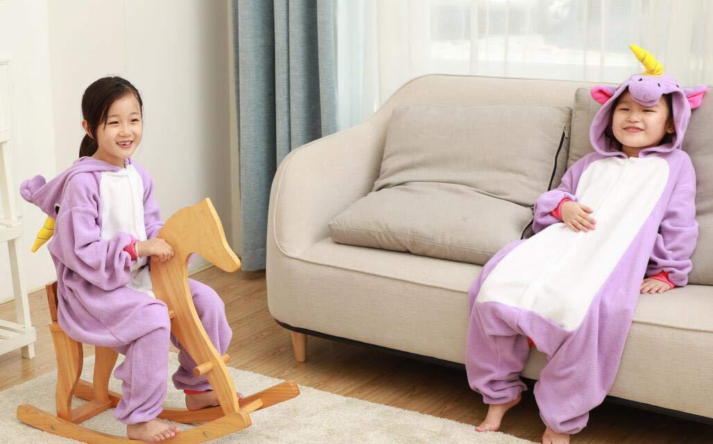 Kids Unisex Animal Pajamas One Piece Anime Onesie Unicorn Costumes Homewear Purple 2-4 by Mybei (Image #7)