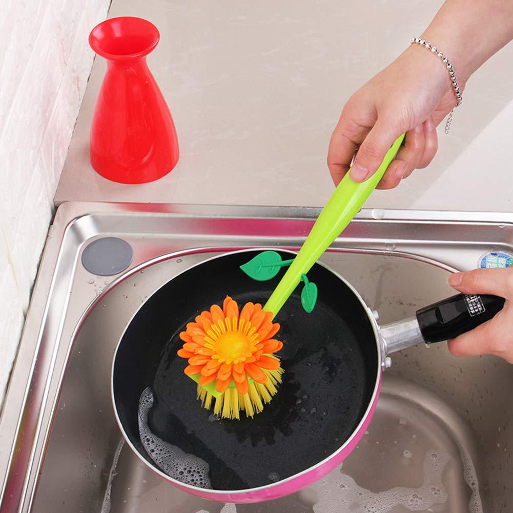 AaaSue Novel - Cepillo de lavado con mango largo para cocina y vajilla rosso: Amazon.es: Hogar