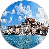 Designart MT7225-C23 Panorama of Ibiza Spain - Cityscape Photo Circle - Disc of 23'' ,Blue,23 X 23