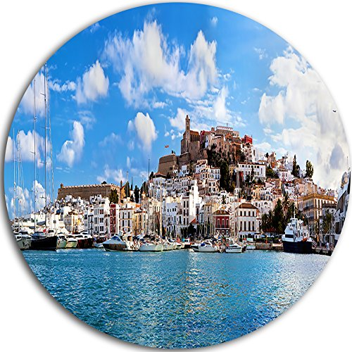 Designart MT7225-C23 Panorama of Ibiza Spain - Cityscape Photo Circle - Disc of 23'' ,Blue,23 X 23 by Design Art