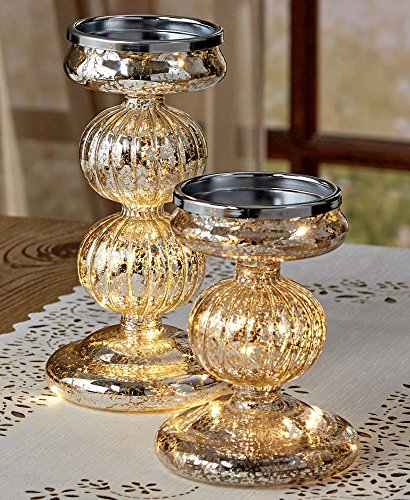 The Lakeside Collection Set of 2 Lighted Mercury Glass Candleholders - Silver by The Lakeside Collection