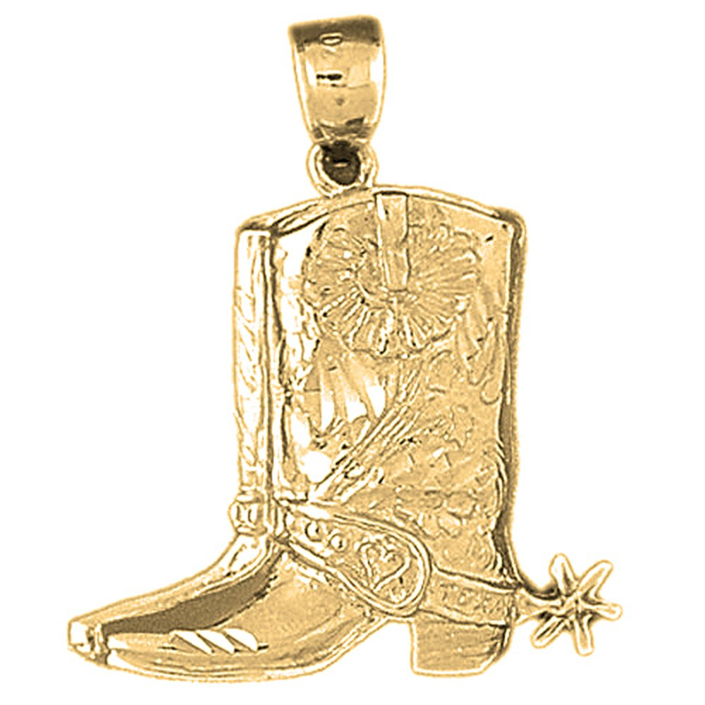 Yellow Gold-plated 925 Silver 33mm Cowboy Boots Pendant Necklace