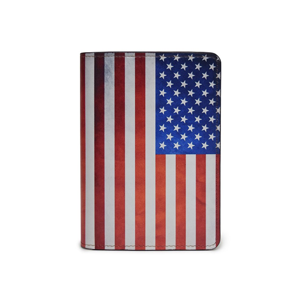 Novelty Leather Passport Cover - Vintage Passport Wallet - Travel Accessory Gift - Vintage United States Flag Cover
