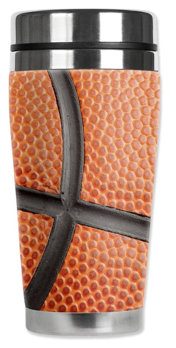 20 oz Mugzie 894-MAXBasketball Closeup Stainless Steel Travel Mug with Insulated Wetsuit Cover Orange