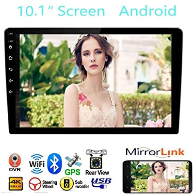 "Car Stereo Double Din Car Stereo Receiver, 10.1"" 2.5D Curved HD Touch Screen Car Radio, Support Built-in WiFi GPS Navigation Bluetooth, Android&iOS Mirror Link with Subwoofer: GPS & Navigation"