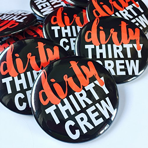 Black and Red Dirty 30 Crew, 30th Birthday Party Favors, 30th Birthday Buttons, Dirty 30 Party Decorations, Set of 10, Funny 30th Birthday Gift