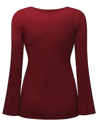 StyleDome Mujer Camiseta Blusa Mangas Largas Elegante Escote V Tiras Entallada Casual: Amazon.es: Ropa y accesorios