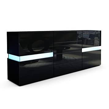 Kommode schwarz matt  Vladon Sideboard Kommode Flow, Korpus in Schwarz matt/Front in ...