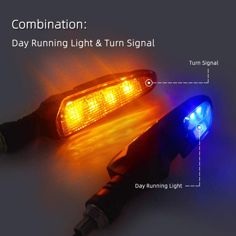 Motorcycle Turn Signal Amber//Blue DRL LED Indicators 2PCS Universal 10mm Blinkers for Motorbike Cruiser Scooter Honda Day Running Light LED Turn Signal
