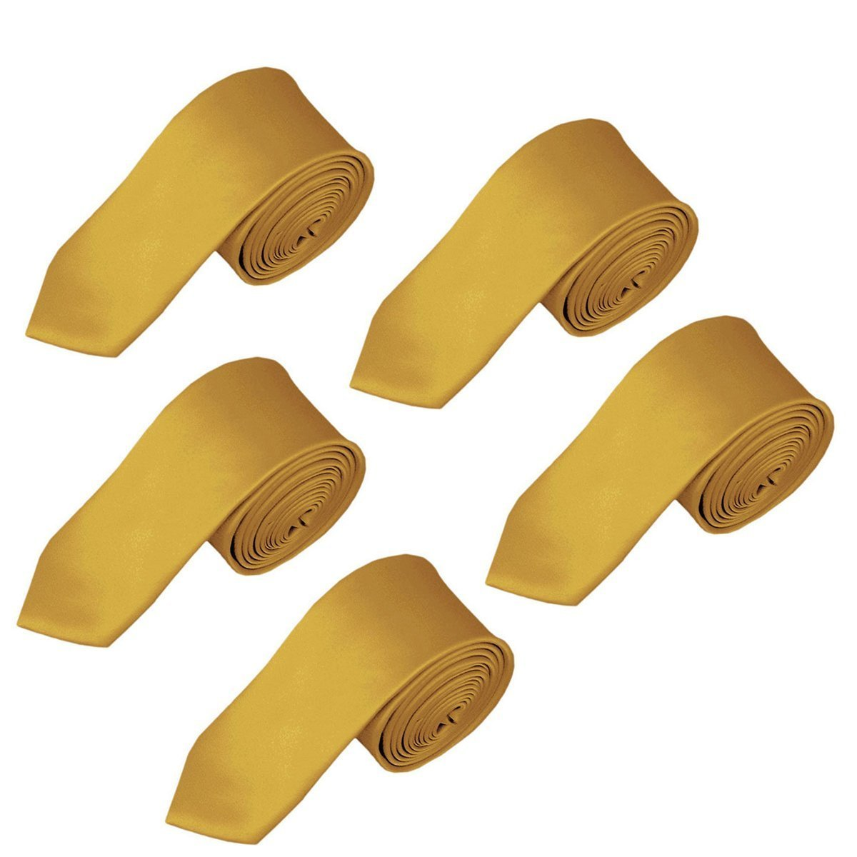 Solid Color Boys Tie Wholesale 5PCs Children and Teen's Necktie Wholesale 2.5 inches (Gold)