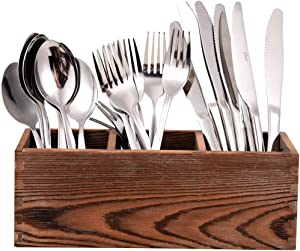 Kitchen Silverware Organizer, Cooking Spatula Holder with 3 Spacious Compartments, Silverware Storage Kitchen Utensil Flatware Tray