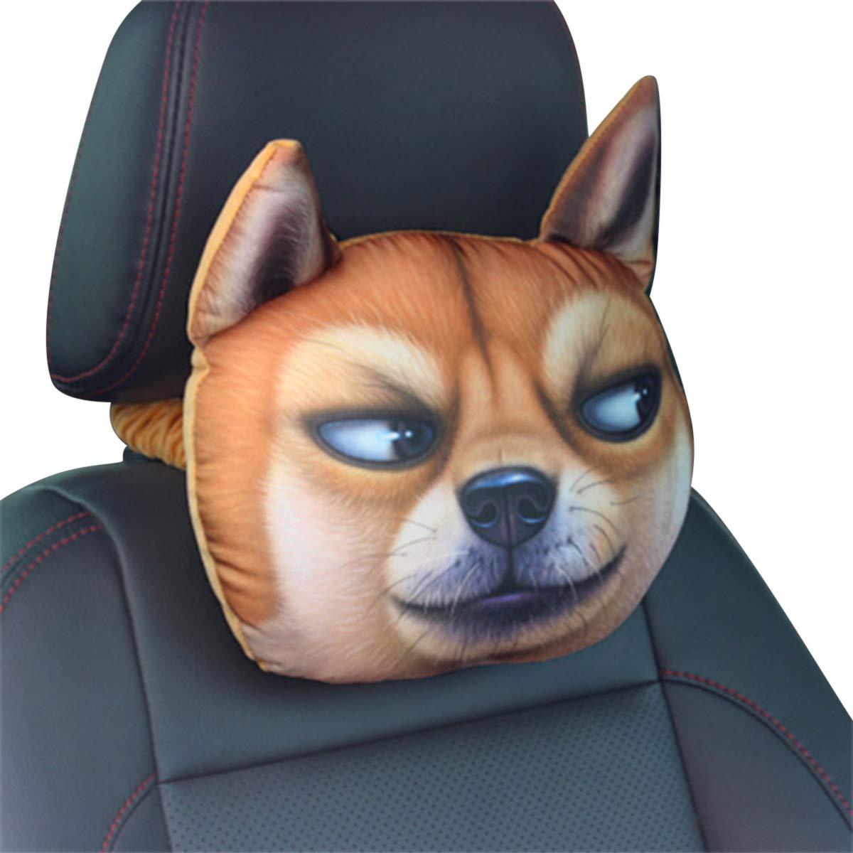 LKW Boxer Hund Gel/ändewagen Ergocar Auto Nackenkissen niedlichen Cartoon Tiere Kopf Auto Kopfst/ütze Kissen Aktivkohle Kopfst/ütze Reisekissen f/ür Autos