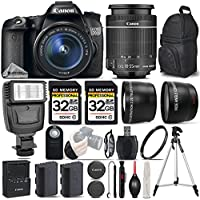 Canon EOS 70D DSLR Camera + Canon 18-55mm IS STM Lens + Flash + 0.43X Wide Angle Lens + 2.2x Telephoto Lens + 2 Of 32GB Class 10 Memory Card + Backup Battery - International Version