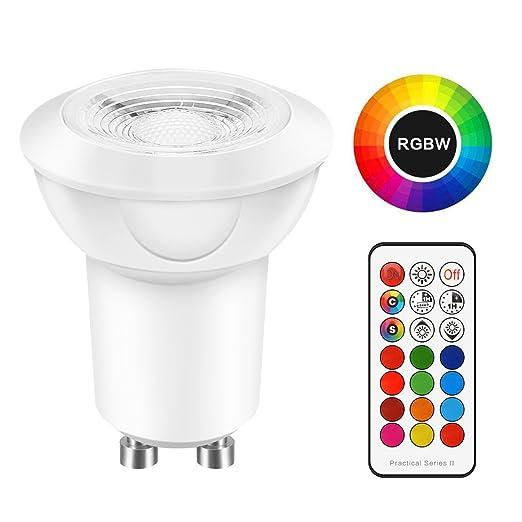 TiooDre GU10 Bombillas LED 12 colores, 3W, intensidad regulable, luz blanca fría,