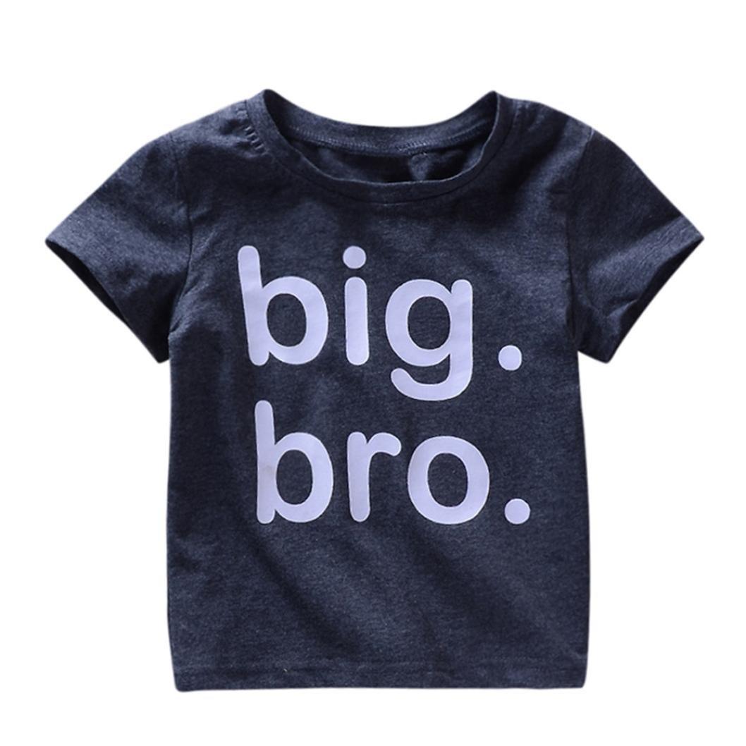 Webla Toddler Baby Boys Kids T-Shirt Letter Big Bro Print Short Sleeve Soft Summer Tops Ages 1-4 Years