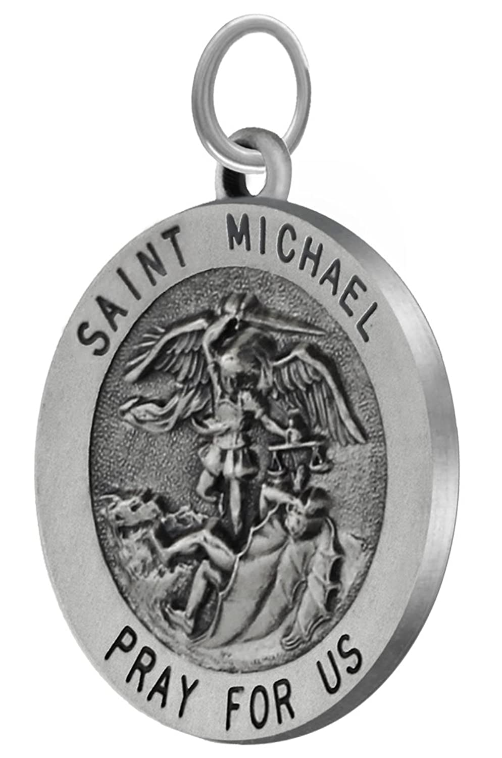 1.0in Round 0.925 Sterling Silver St Saint Michael Medal Pendant