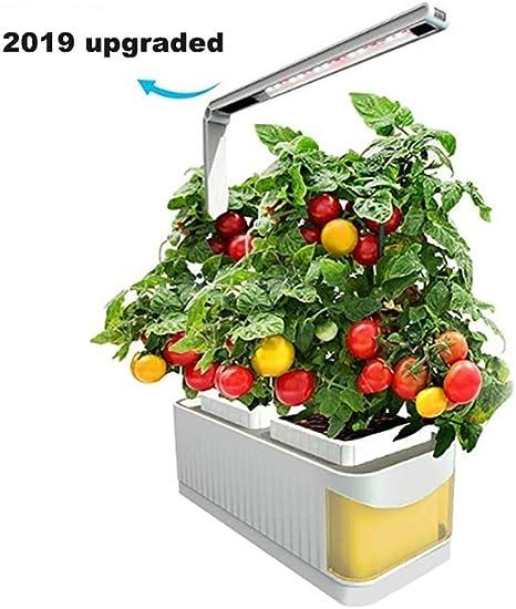 Kit de jardín interior inteligente, Sistema de cultivo hidropónico, Brazo ajustable de 360 grados, Alarma de nivel bajo de agua, Ensalada de hierbas frescas para jardín con verduras Verdes,Amarillo: Amazon.es: Deportes y