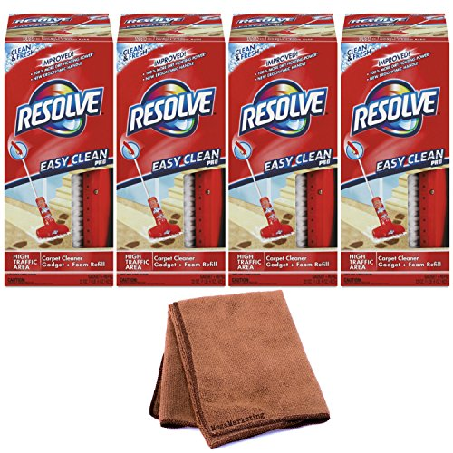 Resolve Easy Clean Pro Carpet Cleaner Gadget & Foam Spray Refill, Clean & Fresh 22 oz Can, Carpet Shampooer System, 4-Pack with Cleaning Cloth by Resolve
