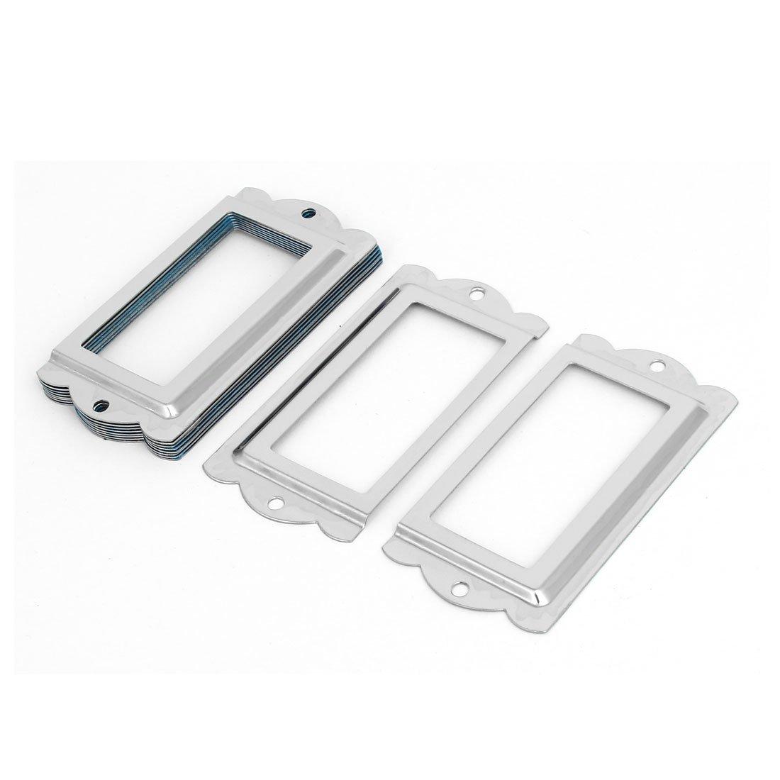 sourcingmap® Coffret tiroir porte-étiquettes Etiquette Cabinet ton argent Images 85mm x 42mm 10PCS a16121200ux1220