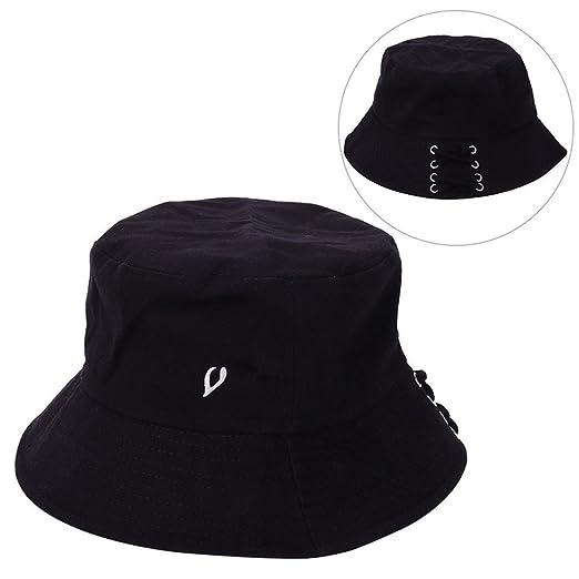 BTS SUGA Fashion Kpop Iron Ring Bucket Hats Popular Style Cap Long Belt Hip  Hop Hat 0657d264565