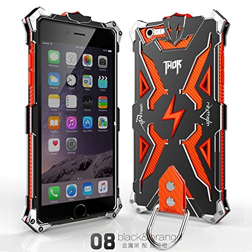 Iphone 6 Plus 6s Plus Case, Lwang Outdoor Sports Strong Protective Case for Iphone 6 Plus 6s Plus,[tempered Glass Screen Protector][silicone Case][aviation Aluminum Cover] (Thor Black/orange) (Cover Thor)