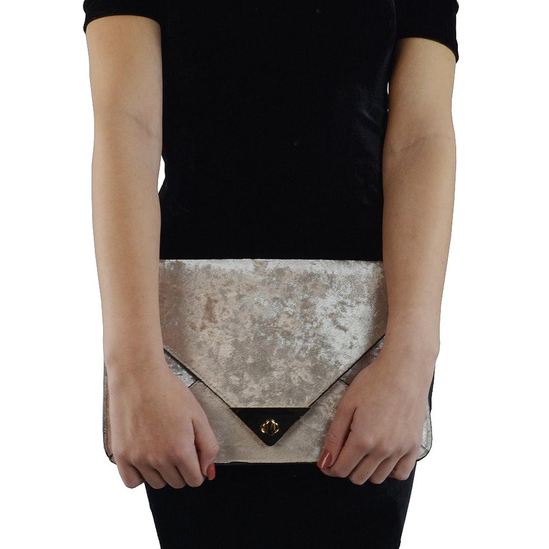 Essex Glam Womens Beige Velvet Evening Envelope Clutch Bag Handbag: Handbags: Amazon.com