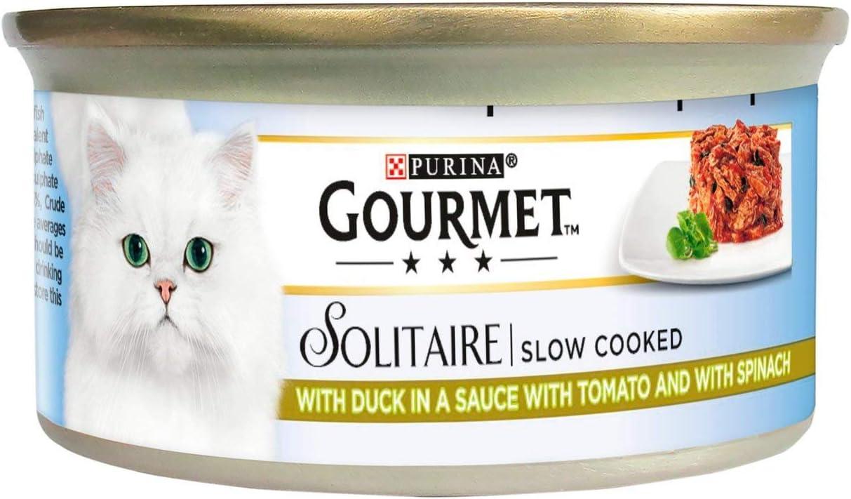 Gourmet Solitaire - Comida para gatos con pato y verduras (85 g, 6 unidades)