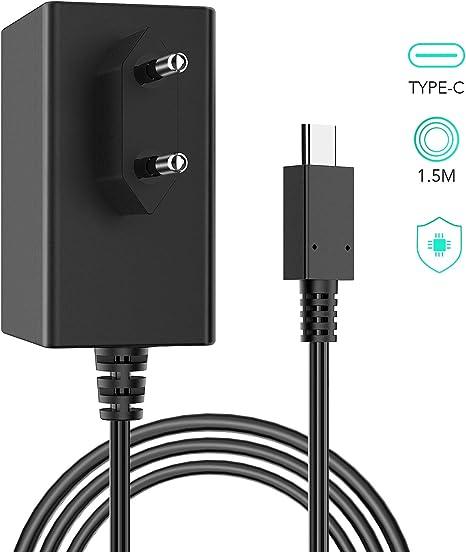 Adaptador de Corriente para Nintendo Switch, AGPTEK AC Cargador de Viaje de Type C con Doble Voltaje 5V-1.5A/15V-2.6A 1.5m Cable Compatible com Modo TV: Amazon.es: Videojuegos