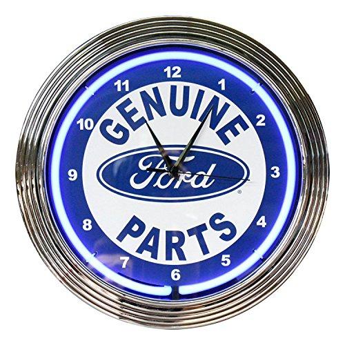 壁掛け 時計 ネオンクロック FORD GENUIN PARTS フォード純正パーツ ブルーネオン 直径38cm アメ車 ガレージ ネオン管 アメリカ雑貨   B07FM2G5HF