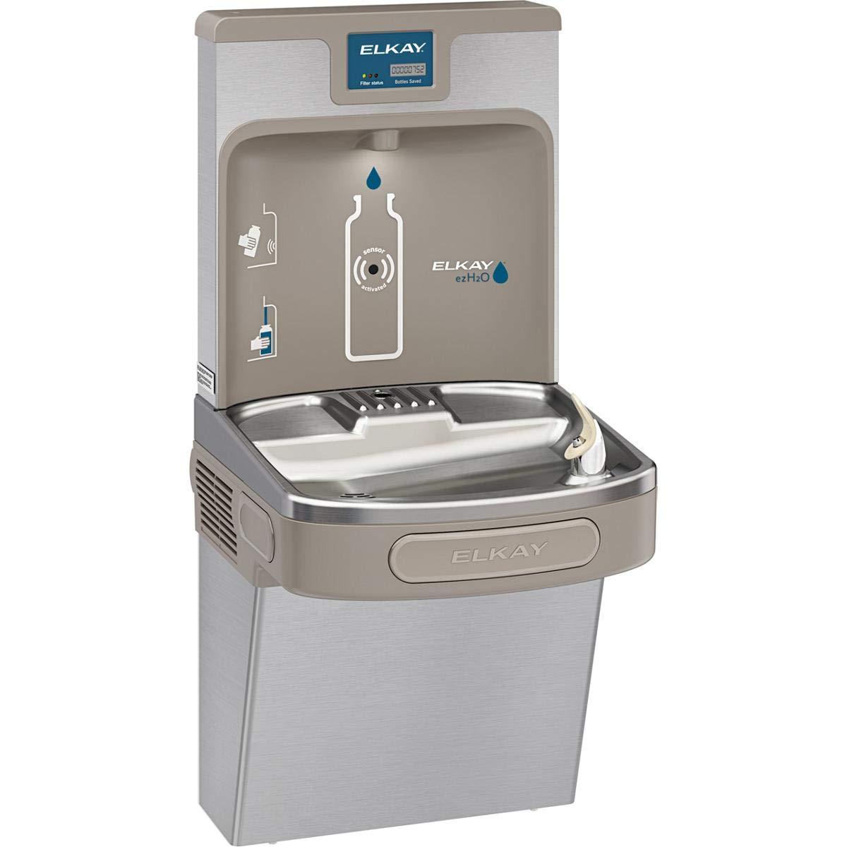 Elkay LZS8WSSP Enhanced EZH2O Bottle Filling Station & Single ADA Cooler, Filtered 8 GPH Stainless