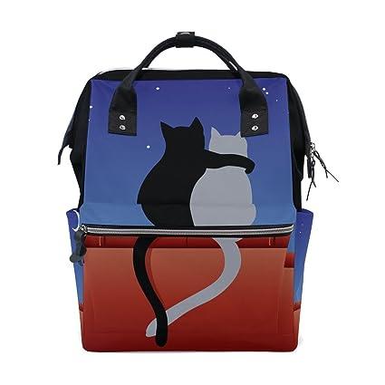 BENNIGIRY - Bolsa de pañales para gatos con diseño de amor con luna, gran capacidad