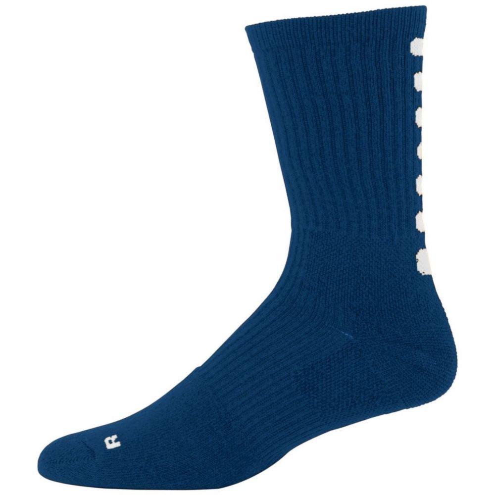 Augusta Activewear Color Block Crew Sock, Navy/White, 7-9