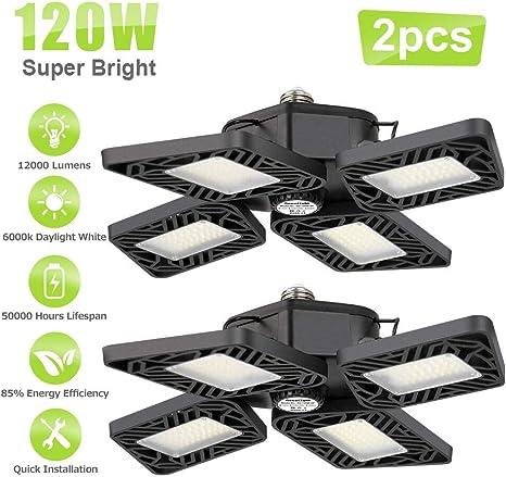 12000 Lumens Shop Lights for Garage with 4 Adjustable Panels 120W LED Garage Lights,Basement Lights Adjustable Aluminum Workshop Light