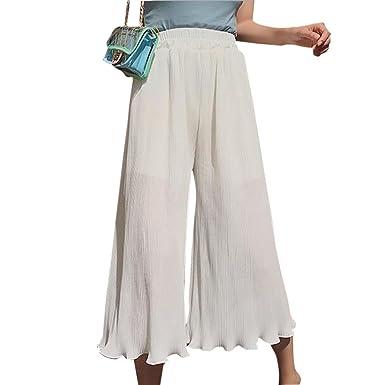 Z Pantaloni Larghi delle Donne di Harajuku di Stile Pantaloni Larghi Casuali  a Vita Alta in Chiffon a Vita Alta  Amazon.it  Abbigliamento f446970bcf6