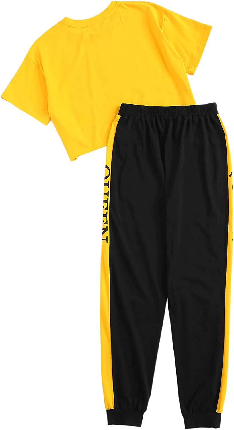 SOLY HUX Womens Sporty Letter Print Short Sleeve Crop Top and Sweatpant Set