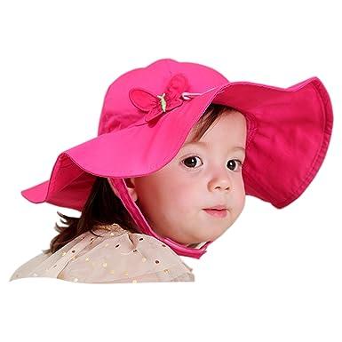 date de sortie: cc7dd 96bb5 Tyidalin Chapeau de Soleil Bébé Fille Anti UV Capeline Bonnet Plage Voyage  Bord Large en Coton Printemps Eté pour Enfant 0-6 ans